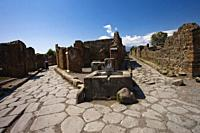 Public water fountain, Excavations of Pompeii, was an ancient Roman town destroyed by volcan Mount Vesuvius, Pompei, comune of Pompei, Campania, Italy...