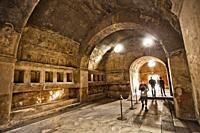 The Stabian Baths, Excavations of Pompeii, was an ancient Roman town destroyed by volcan Mount Vesuvius, Pompei, comune of Pompei, Campania, Italy, Eu...