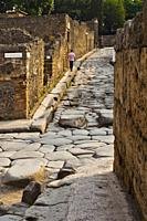 Pavement stones, Excavations of Pompeii, was an ancient Roman town destroyed by volcan Mount Vesuvius, Pompei, comune of Pompei, Campania, Italy, Euro...