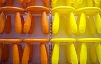Three legs plastic stool for children. Ikea store.