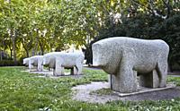 Replica of the Toros de Guisando (Guisando Bulls) Moratalaz Park. Madrid. Spain.