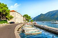 Historic city of Perast at Bay of Kotor in summer, Montenegro.