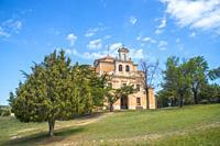 Juniper forest and church. Moral de Hornuez, Segovia province, Castilla Leon, Spain.