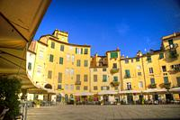The characteristic buildings of the Piazza dell´Anfiteatro in Lucca, Italy.
