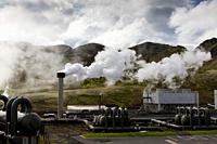 Hellisheidi sustainable energy geothermal power plant station in Hengill, Iceland.