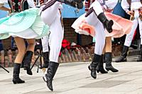 Billingham, north east England, UK. 10th August 2019. Dancers from Slovakia performing at the Billingham International festival of World Dance, now in...
