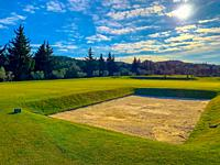 Quadrangular Sand Trap Golf du Domaine de Mainville in France.