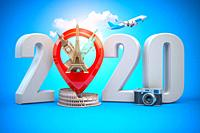 2020 Happy new year. Number 2020 and pin with most popular landmarks of the world. New year celebration in London, Paris, Rome or New York. 3d illustr...