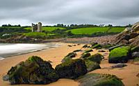 Minard Beach and Minard Castle, Dingle Peninsula, County Kerry, Ireland.