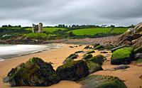 Minard Beach and Minard Castle, Dingle Peninsula, County Kerry, Ireland.