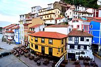 View of the coloured houses and Main square of Cudillero, Asturias, Spain.