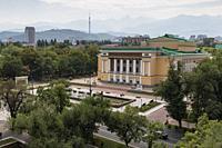 Almaty, Kazakhstan - August 9, 2019: Kazakh Opera and Ballet Theater in Almaty.