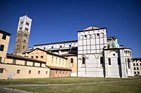 Exterior view of the Cathedral of San Martino in Lucca Tuscany Italy.