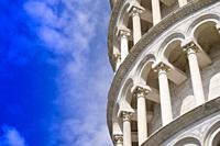 Construction and architectural details of the famous Leaning Tower of Pisa Italy.