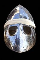 Pointed helmet, used by moorish armies during Reconquista period, 11-13th Century. Isolated.