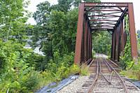 Trestle along the old Boston & Maine Railroadâ. . s Pemigewasset Valley Railroad in Plymouth, New Hampshire. This trestle crosses the Baker River, nea...
