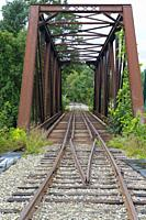 Railroad bridge, near today's Common Man Inn & Spa, along the old Pemigewasset Valley Railroad in Plymouth, New Hampshire. Eventually leased to the Bo...