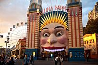 22. 09. 2019, Sydney, New South Wales, Australia - Entrance gate to the Luna Park funfair at Milsons Point depicting a grimace.