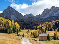 Val San Nicolo in Val di Fassa. Marmolada mountain range in the Dolomites of Trentino. Dolomites are part of the UNESCO world heritage. Europe, Centra...
