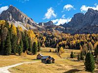 Val San Nicolo in Val di Fassa. Marmolada mountain range in the Dolomites of Trentino. Dolomites are part of the UNESCO world heritage. Europe, Centra...