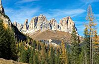 View of Langkofel (Sasso Lungo) from Val Contrin in the Marmolada mountain range in the Dolomites. Dolomites are part of the UNESCO world heritage. Eu...