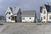 cityscape with traditional houses at Artic village, shot under bright summer light at Bleik, Andoya, Vesteralen, Norway.