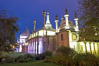 Royal Pavillion in Brighton at night. East Sussex, England.