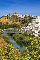 White village of Arcos de la Frontera. Pueblos Blancos de la Sierra de Cadiz. Southern Andalusia, Spain. Europe.