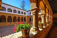 Franciscan monastery of Santa Maria de la Rábida. Mudejar style cloister, Palos de la Frontera. Huelva province. Southern Andalusia, Spain. Europe.