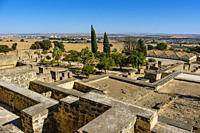 UNESCO World Heritage Site, Medina Azahara. Archaeological site Madinat al-Zahra, general panoramic view. Cordoba. Southern Andalusia, Spain. Europe.