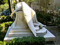 Grave of William Wetmore Story (1819-1895), the most important American sculptor in Rome who realzied the sculpture Angelo del Dolore (Angel of Grief)...