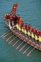 The boats of the historical procession for the historical regatta on the Grand canal of Venice, Italy, Europe.