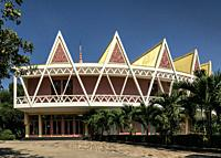 Chaktomuk Conference Hall architecture landmark building in phnom penh city cambodia.