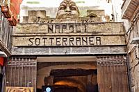 Main entrance, Naples underground, Napoli sotterranea, Piazza San Gaetano square, Naples city, Campania, Italy, Europe.