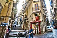 Via Giuseppe street, quarter Montecalvario, historic center, Naples city, Campania, Italy, Europe.