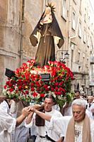 Catholic procession to Foqus Fondazione Quartieri Spagnoli, Quartieri Spagnoli, Spanish Quarters, historic center, Naples city, Campania, Italy, Europ...