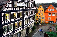 Traditional architecture with half-timbered house on left, Marktplatz, historic part of Schwäbisch Hall, Schwäbisch Hall, Baden-Württemberg, Germany, ...