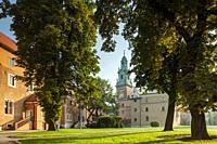 Summer morning at Wawel Royal Castle in Krakow, Poland.