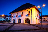 Historical town hall in the main square of Rajec, Slovakia.