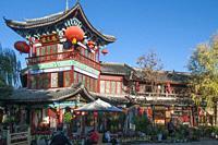 Evening in the Old Town, Lijiang, Yunnan, China.