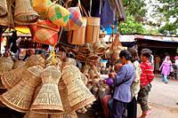 Rattan baskets, rattan product at serikin Local market, Hawker stalls at Serikin Malaysia-Indonesia Border
