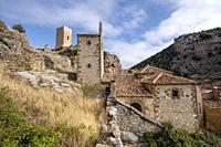 iglesia de San Miguel y torreón de origen islámico, Chaorna, Soria, comunidad autónoma de Castilla y León, Spain, Europe.
