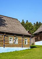 Huts in Open Air Museum at Stara Lubovna, Presov Region, Slovakia.