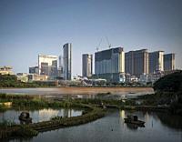 cotai strip casino resorts skyline view from taipa in macau china.