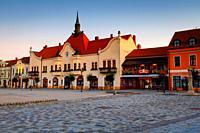 Topolcany, Slovakia - September 12, 2019: Historical Art Nouveau town hall in the main square of Topolcany, Slovakia.