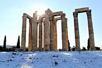 The ancient Temple of Olympian Zeus , after a snowfall in Athens , on Tuesday.