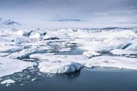 Winter - the Jokusarlon Glacial Lagoon, Iceland.