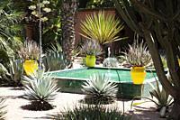 Small Fountain in Majorelle Gardens in Marrakesh, Morocco.