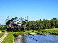 Private Boat in Cradle at Inclined Plane in Olesnica, Elblag Canal, Warmian-Masurian Voivodeship, Poland.