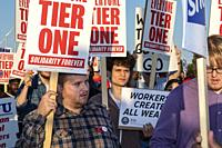 Detroit, Michigan USA - 18 September 2019 - Community supporters and members of other unions joined the picket lines at the Detroit-Hamtramck Assembly...